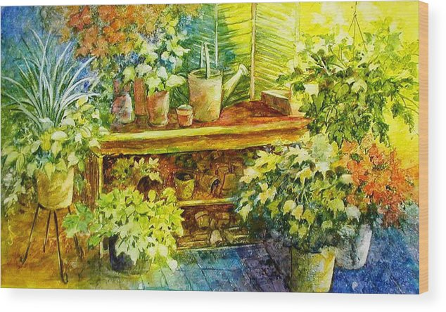 Greenhouse;plants;flowers;gardener;workbench;sprinkling Can;contemporary Wood Print featuring the painting Gardener's Joy by Lois Mountz