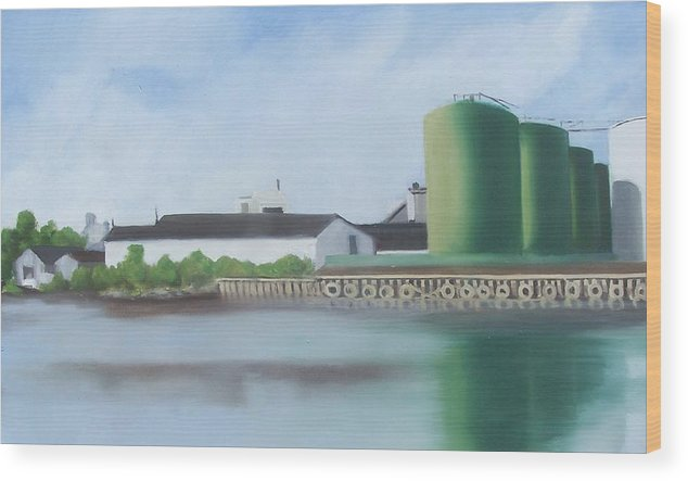 Industrial Landscape Painting Wood Print featuring the painting Hess Tanks From Costco by Ron Erickson