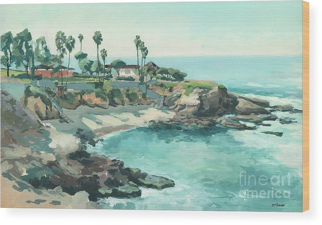 La Jolla Cove Wood Print featuring the painting La Jolla Cove In December, La Jolla, San Diego, California by Paul Strahm