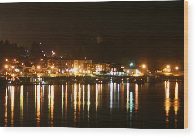 Lights Wood Print featuring the photograph Lights On The Water by Joshua Sunday