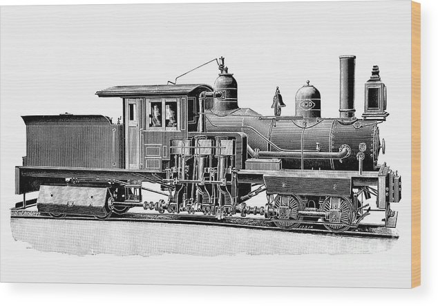 1893 Wood Print featuring the photograph Locomotive, 1893 by Granger
