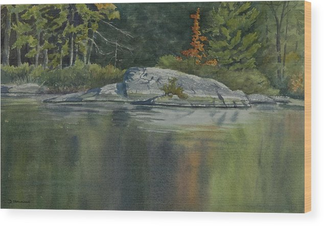 Water Wood Print featuring the painting Lone Red Tree by Debbie Homewood
