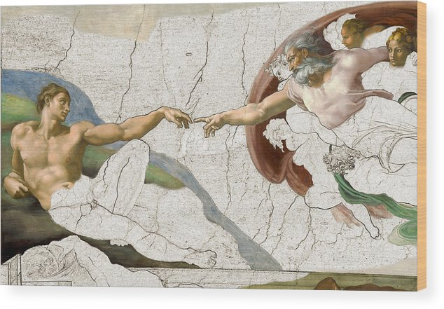 Michelangelo Wood Print featuring the painting Michelangelo Creation Digital by Karla Beatty