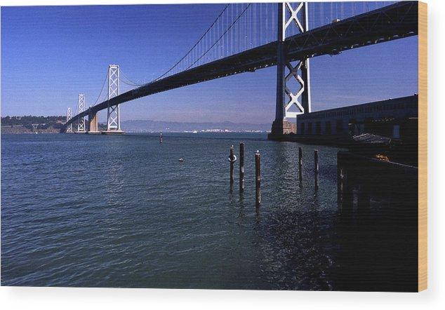 San Francisco Wood Print featuring the photograph Oakland Bay Bridge 1985 by Lee Santa