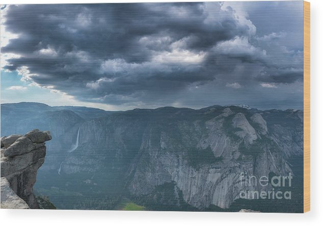 Yosemite Valley Wood Print featuring the photograph Ominous Clouds Over Glacier Point by Michael Ver Sprill