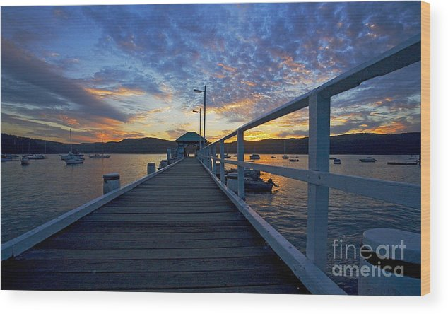 Palm Beach Sydney Wharf Sunset Dusk Water Pittwater Wood Print featuring the photograph Palm Beach Wharf At Dusk by Sheila Smart Fine Art Photography