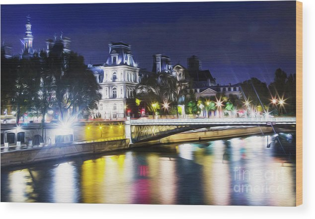Paris Wood Print featuring the photograph Paris At Night 22 by Alex Art and Photo