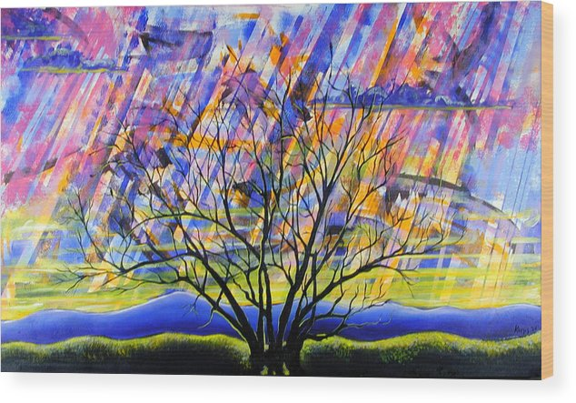 Sunset Wood Print featuring the painting Rays Of Life by Rollin Kocsis