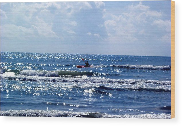 Ocean Wood Print featuring the photograph Riding The Waves by Evelyn Patrick