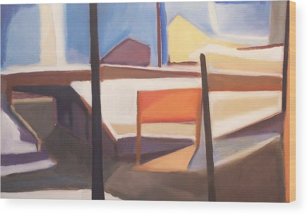 Suburban Wood Print featuring the painting Shore Ave Trestle Study Bogota Nj by Ron Erickson