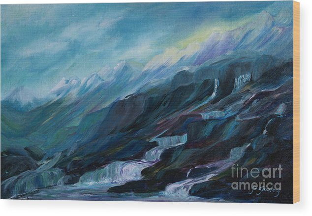 Spring Water Trickling Down Mountains Wood Print featuring the painting Spring Water by Joanne Smoley