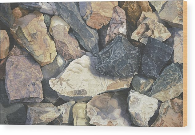Stones Wood Print featuring the painting Square One by Craig Gallaway