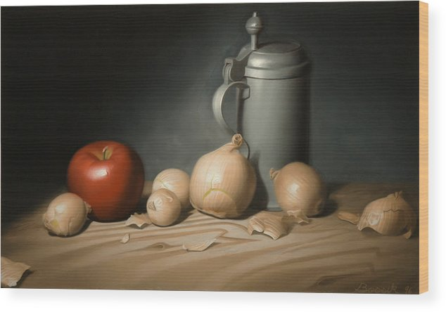 Still Life Painting Wood Print featuring the painting Still Life Painting With Onions by Eric Bossik