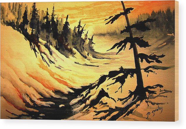 Sunset Extreme Wood Print featuring the painting Sunset Extreme by Joanne Smoley
