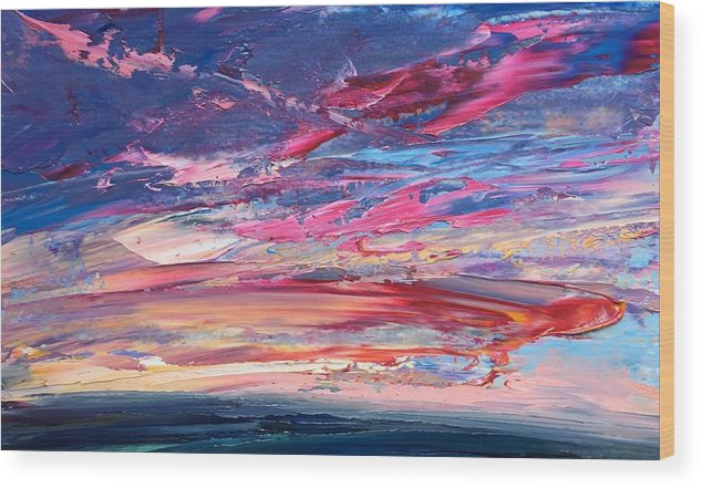 Landscape Wood Print featuring the painting Sunset by Whitney Knapp Bowditch