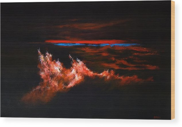 Modern Art Wood Print featuring the painting Waves by DEVARAJ DanielFranco