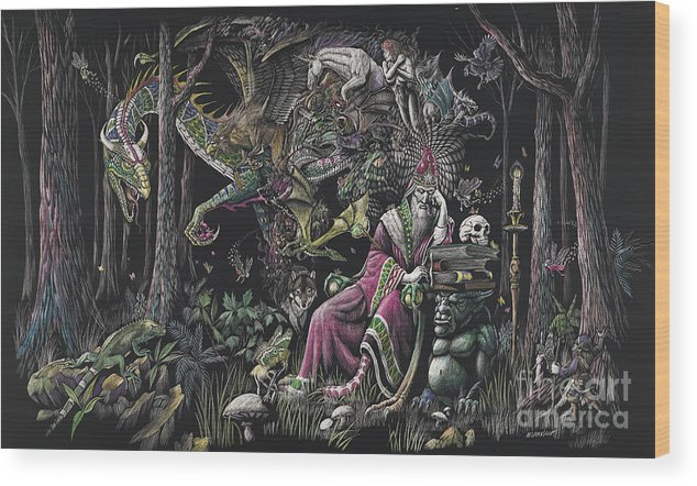 Dragon Wood Print featuring the drawing When Wizards Dream by Stanley Morrison