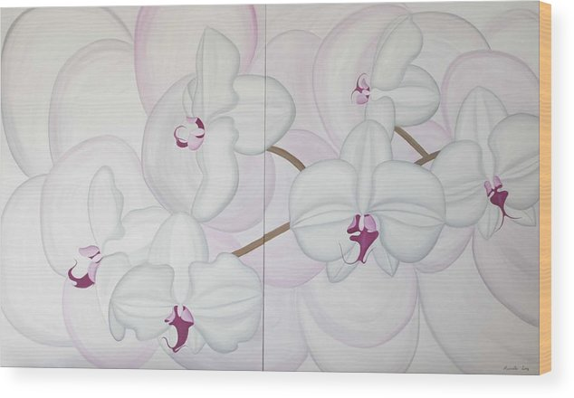 Marinella Owens Wood Print featuring the painting White Pink Orchide by Marinella Owens