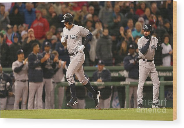 People Wood Print featuring the photograph New York Yankees V Boston Red Sox 14 by Jim Rogash