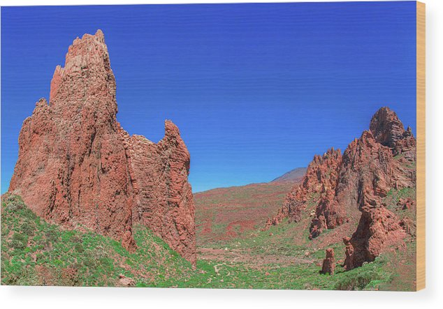 Mountains Wood Print featuring the photograph Glowing Red Rocks In The Teide National Park by Sun Travels