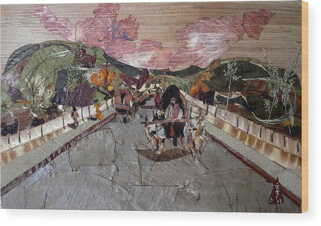 Bullock Cart Wood Print featuring the mixed media Bullock Cart On Bridge by Basant Soni