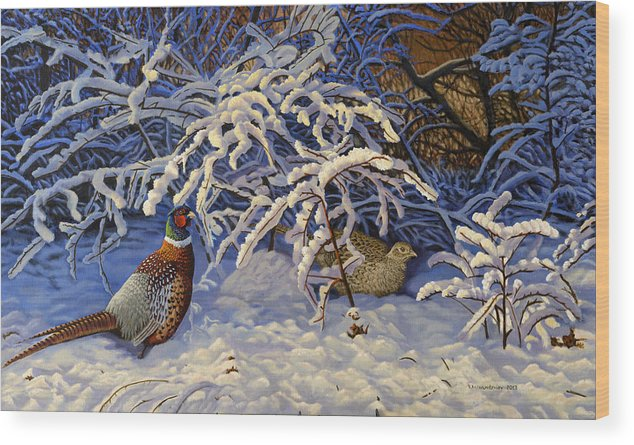 Pheasants Wood Print featuring the painting First Snow by Valentin Katrandzhiev
