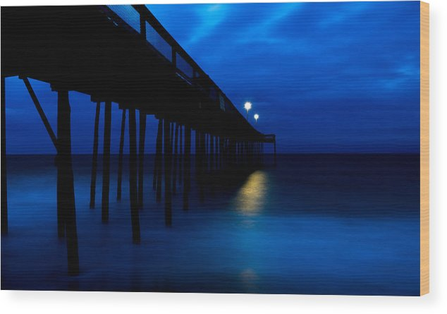 Ocean City Wood Print featuring the photograph Predawn Blue Beneath Pier by Gavin Baker