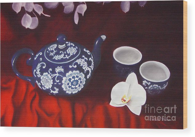 Still Life Wood Print featuring the painting All The Tea In China by Colleen Brown