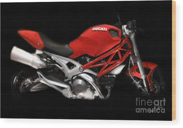 Motorcycles Wood Print featuring the photograph Ducati Monster In Red by Kimxa Stark