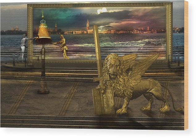 Golden Lion Gold Sword Surrealism Magic Italy Book Register Color Magical Miraculous Land Surrealism Wood Print featuring the photograph Golden Lion From Alternative Earth by Desislava Draganova
