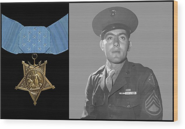 Medal Of Honor Wood Print featuring the painting John Basilone And The Medal Of Honor by War Is Hell Store