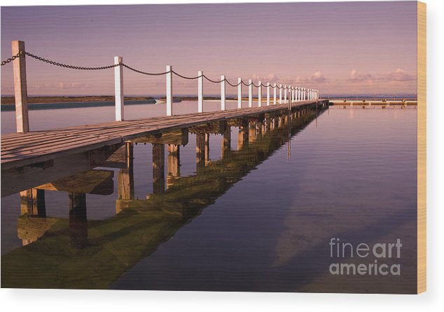 Narrabeen Sydney Sunrise Wharf Walkway Wood Print featuring the photograph Narrabeen Sunrise by Sheila Smart Fine Art Photography
