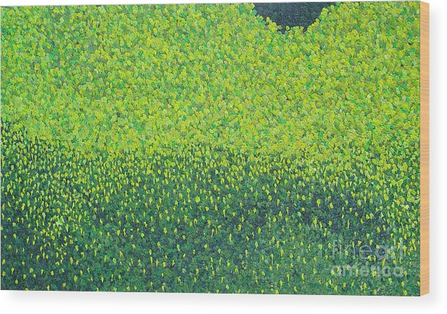 Abstract Wood Print featuring the painting Soft Green Wet Trees by Dean Triolo