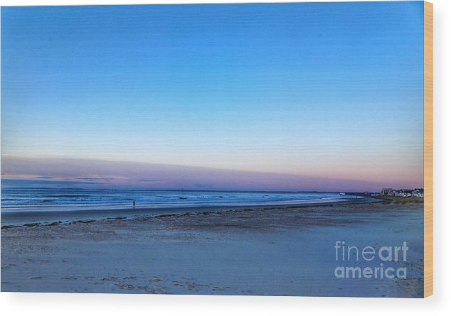 Maine Wood Print featuring the photograph Sunrise Beach Walk by Colleen Mars