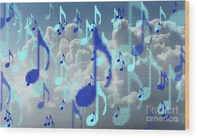 Wood Print featuring the digital art The Greater Clouds Of Witnesses We Love The Blues Too by Brenda L Spencer