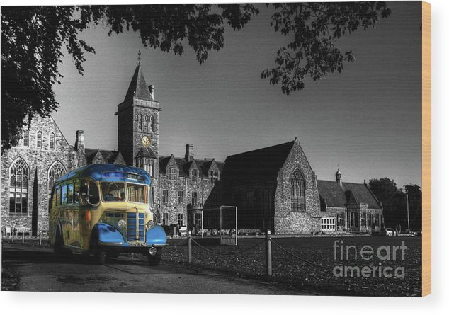Bus Wood Print featuring the photograph Vintage Bus At Taunton School by Rob Hawkins