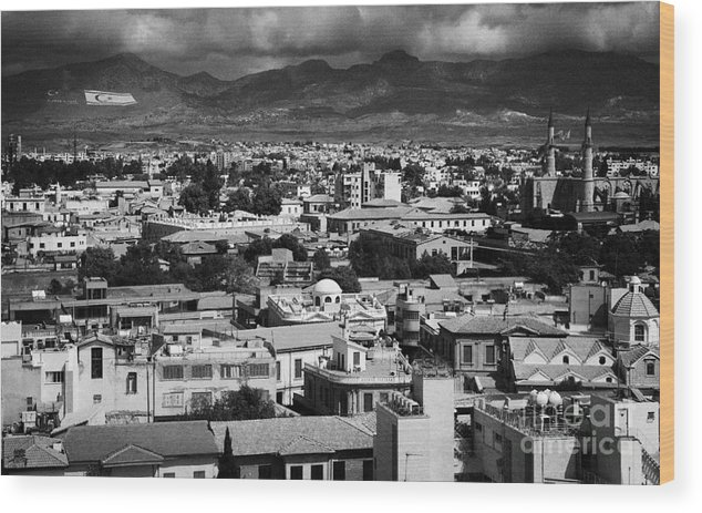 South Wood Print featuring the photograph Aerial View From Southern Nicosia Over Northern Turkish Controlled Nicosia In Nicosia Lefkosia by Joe Fox