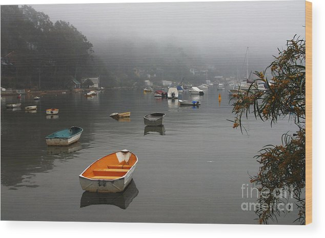 Mist Wood Print featuring the photograph Careel Bay Mist by Sheila Smart Fine Art Photography