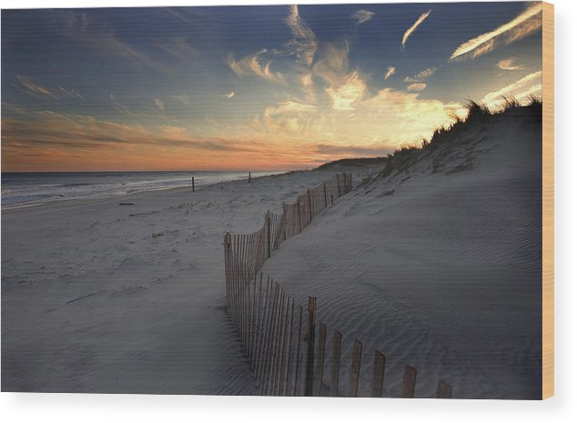 Cupsogue Beach Sunset Wood Print featuring the photograph Cupsogue Beach Sunset by Jim Dohms