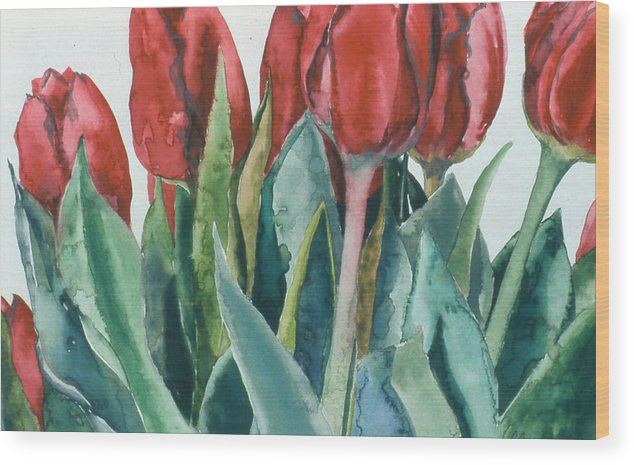 Floral Wood Print featuring the painting Mini-valentine Tulips - 2 by Caron Sloan Zuger