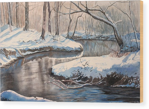 Snow Wood Print featuring the painting Snow On Riverbank by Debbie Homewood