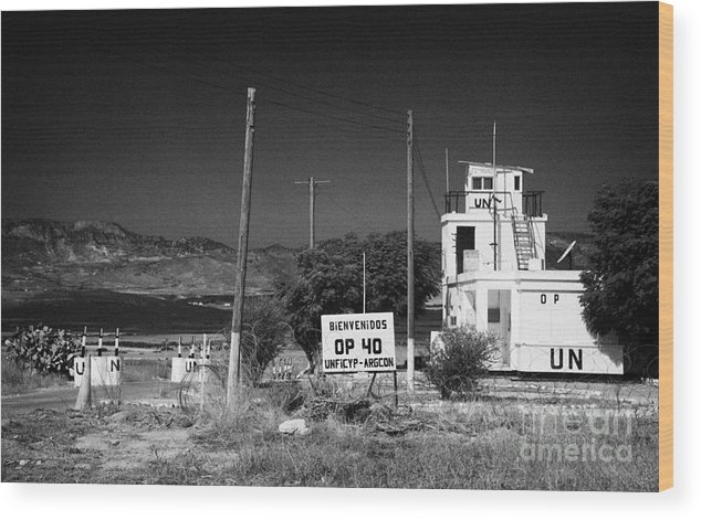 United Wood Print featuring the photograph Un Observation Post Manned By Argentinian Troops Argcon Op 40 In The Buffer Zone Cyprus by Joe Fox