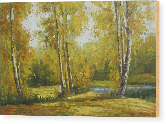 Landscape Wood Print featuring the painting Cariboo Gold by Imagine Art Works Studio