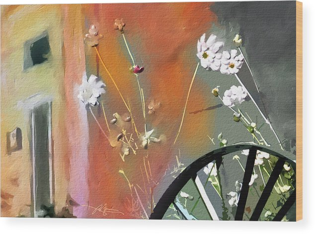 Floral Wood Print featuring the painting Kensington Market Floral Detail by Bob Salo