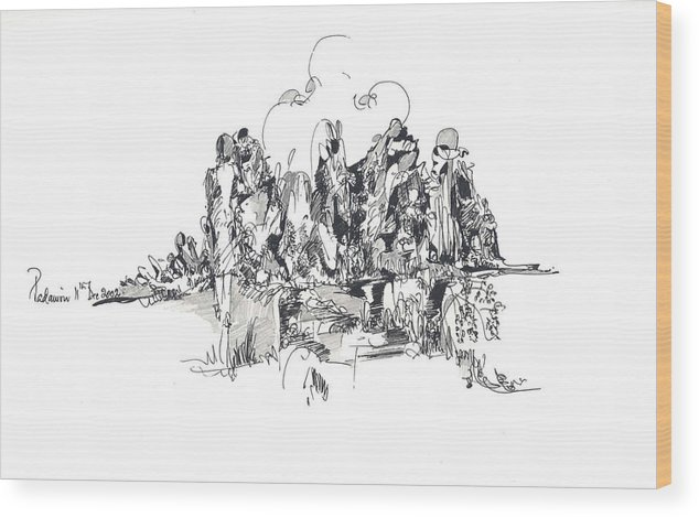 Landscape Wood Print featuring the drawing Rocks And Hills by Padamvir Singh