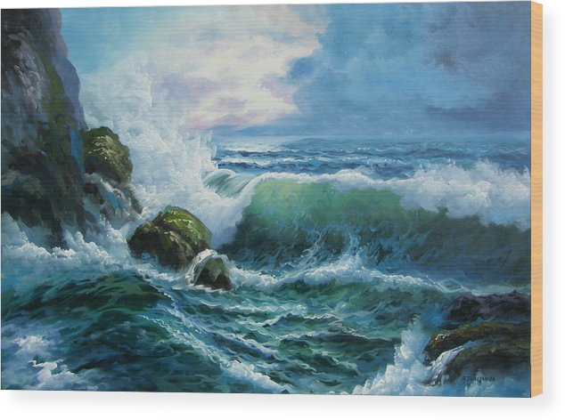 Seascape Wood Print featuring the painting Rocky Coast by Imagine Art Works Studio