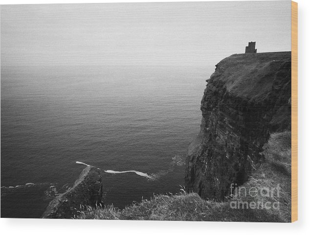 Ireland Wood Print featuring the photograph O'briens Tower On The Cliffs Of Moher County Clare Ireland by Joe Fox