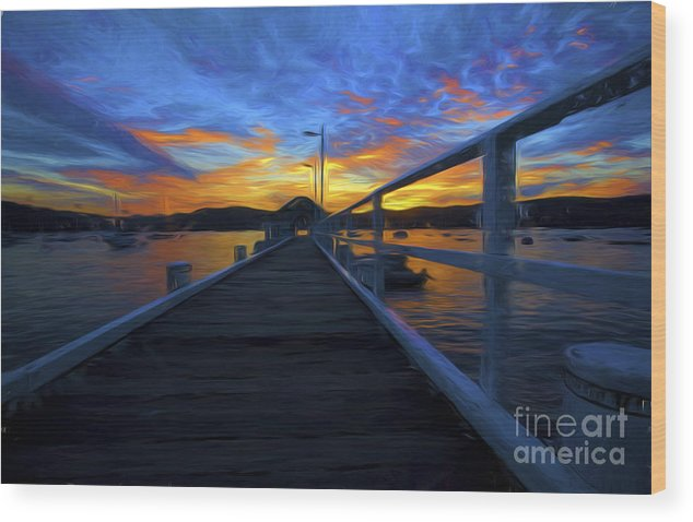 Sunset Wood Print featuring the photograph Palm Beach Wharf At Sunset by Sheila Smart Fine Art Photography