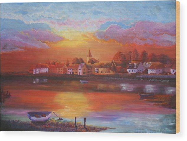 Sea Wood Print featuring the painting Bosham Estuary by Mandy-Jayne Ahlfors