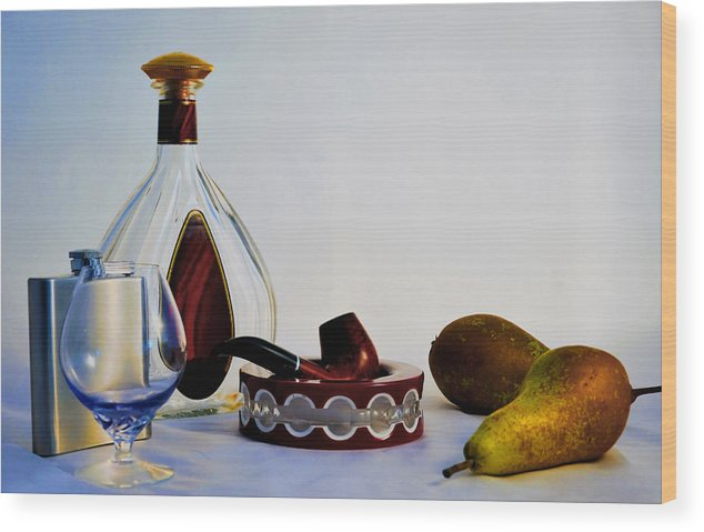 Still Wood Print featuring the photograph Smoking Pipes And Fruit by Vladimir Abramovich